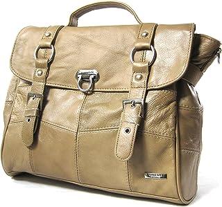 Damen-Ledertasche/Handtasche mit abnehmbarem Schulterriemen (Beige/Schwarz/Braun)