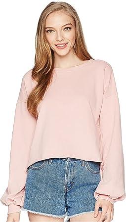 Balloon Sleeve Cropped Sweatshirt
