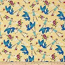 Free Spirit Fabrics Tokyo Milk Neptune & The Mermaid What Would Poseidon Say? Yellow Fabric by The Yard