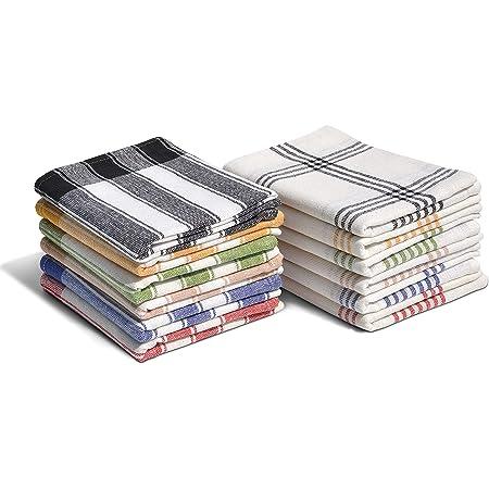 Home Linge Passion Torchons de Cuisine 100% Coton (Lot de 12), Taille 50 x 70 cm (Panachage Bleu, Jaune,Vert, Rouge, Beige, Noir), Multicolore, 50x70 cm