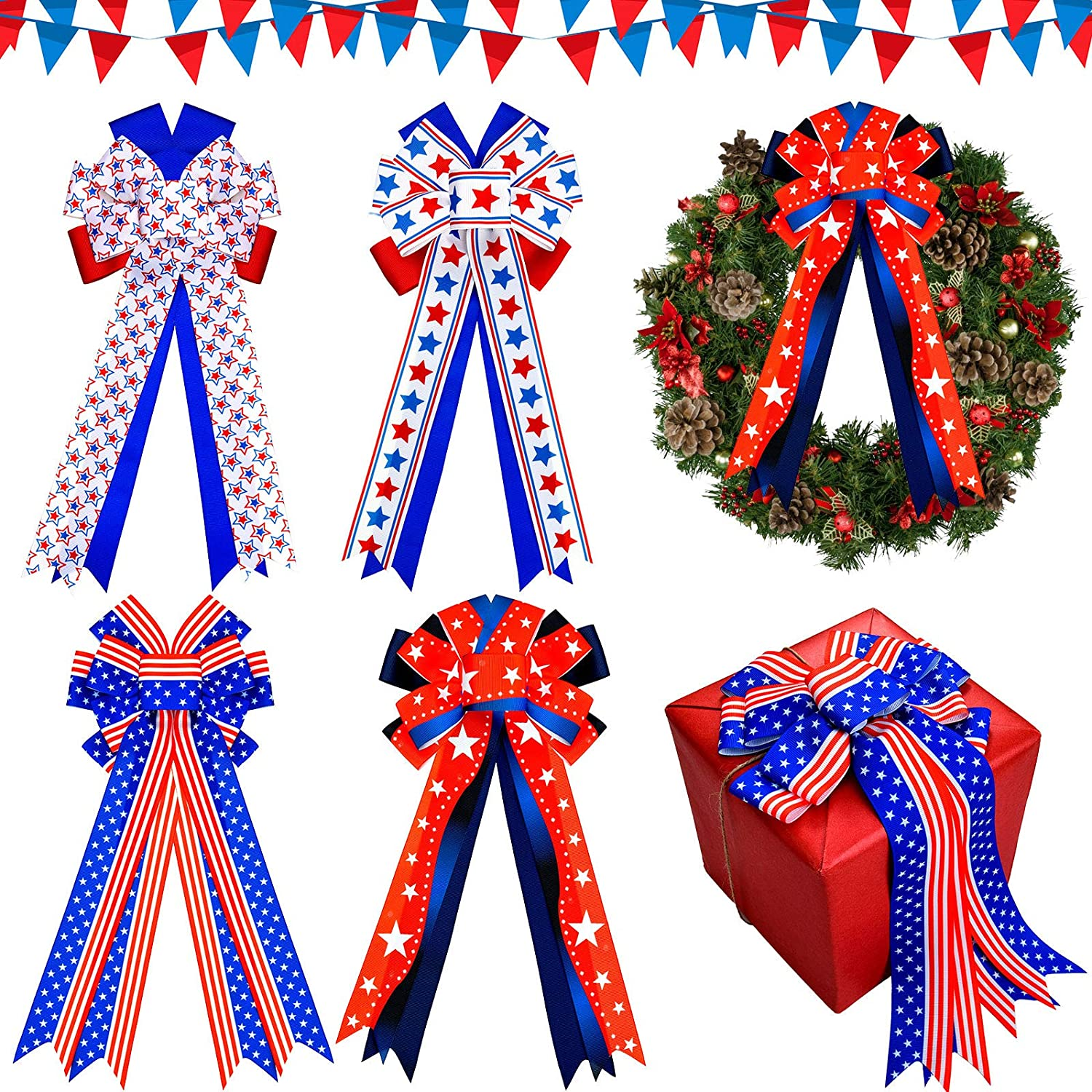 free shipping Genuine Free Shipping Giegxin 4 Pieces Red White Bows and Blue Independence Patriotic