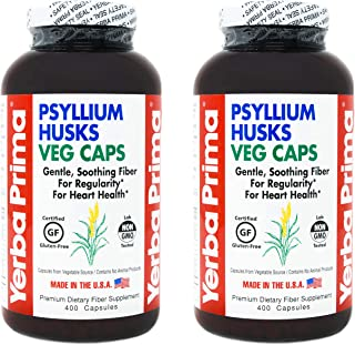 Yerba Prima Psyllium Whole Husk Capsules - 400 Veg Caps (Pack of 2) (Packaging May Vary - New Label Coming Soon)