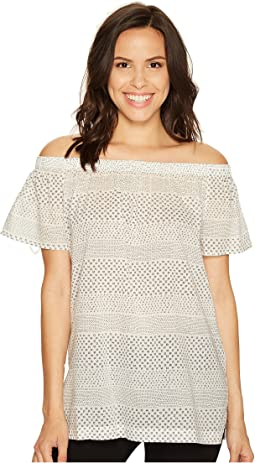 Off the Shoulder Delicate Etching Side Slit Tunic