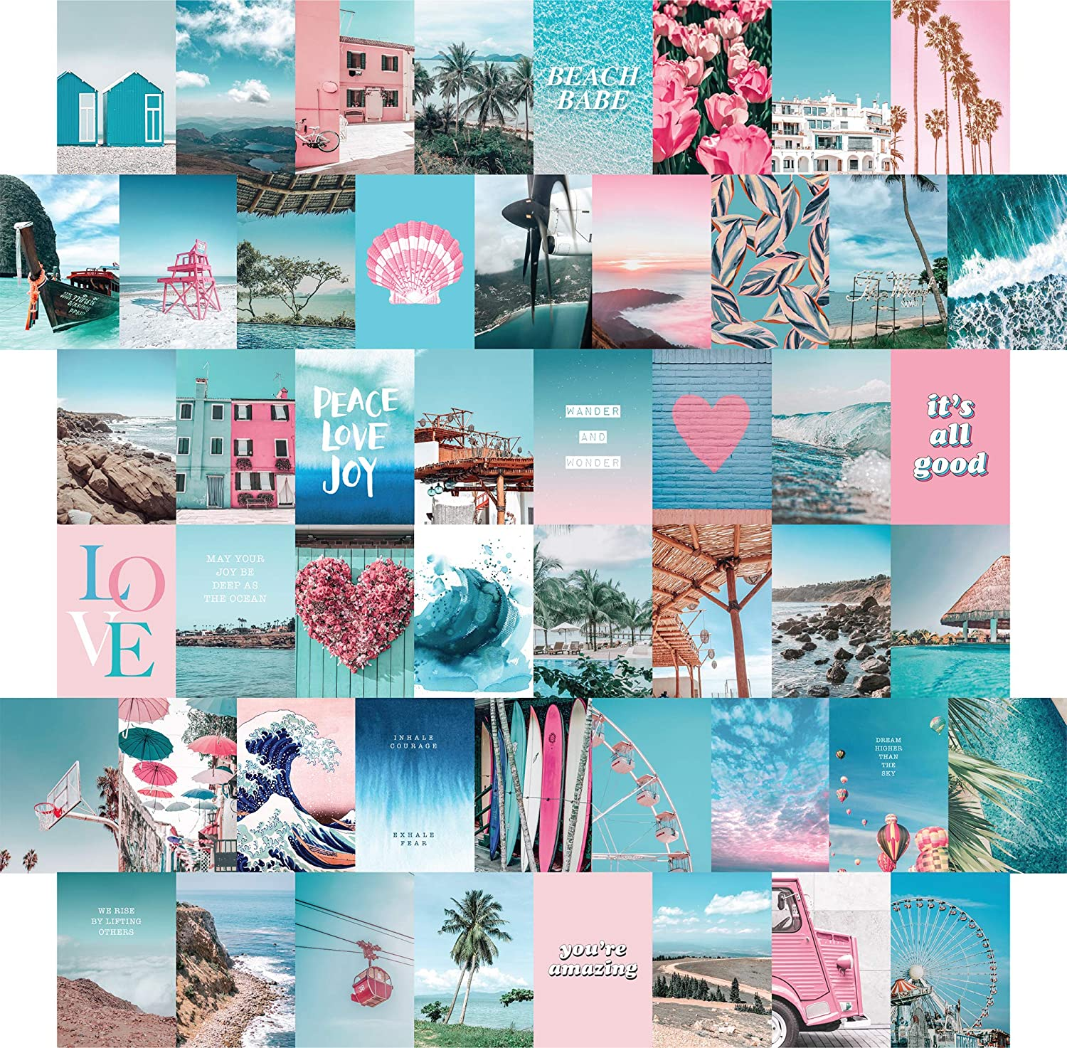 Posters Prints Blue Aesthetic Wall Collage Kit 50 Set 4x6 Inch Pink Vsco Room Decor For Teen Girls Small Posters For Room Aesthetic Dorm Photo Collection Summer Beach Wall Art Print