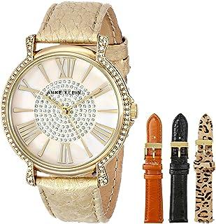 Anne Klein Women's Gold-Tone Swarovski-Accented Watch with Three Additional Straps
