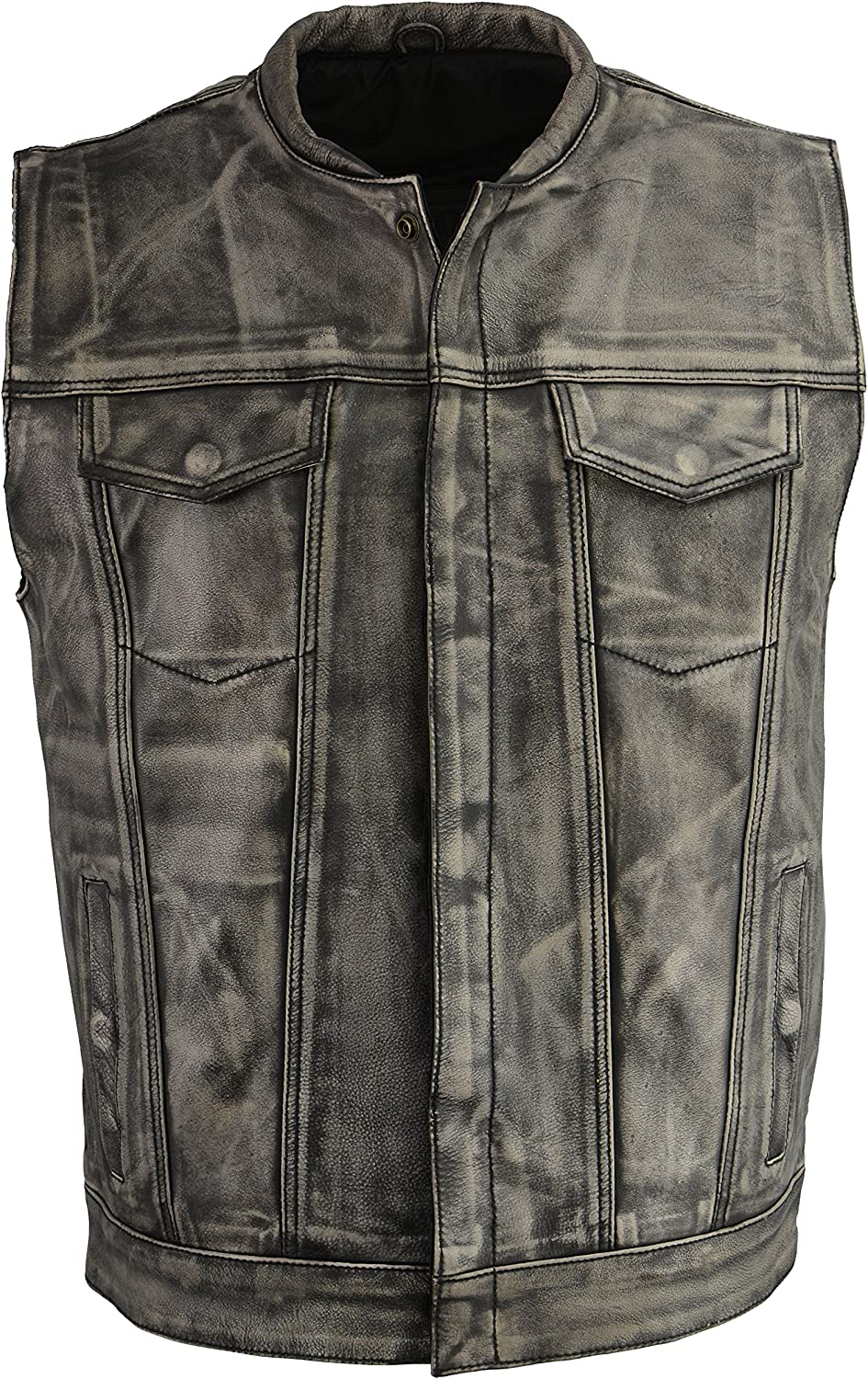 M Boss Motorcycle Apparel BOS13502 Men's Distressed Grey Leather Motorcycle Vest - X-Large