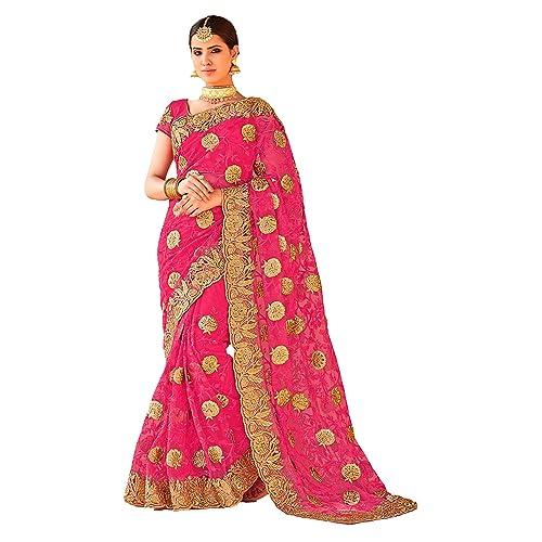 0b000e5ab3 Shyora Designer Women's Net Heavy Saree with Blouse Piece (Pink, Free Size)
