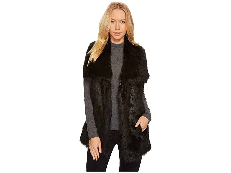Via Spiga Faux Fur Vest (Black) Women