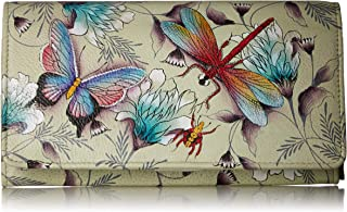 Anuschka Women's Hand Painted Leather Accordion Flap Wallet,Wondrous Wings