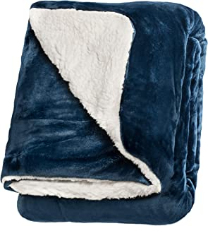 """Life Comfort Microfiber Plush Polyester 60""""x70"""" Large All Season Blanket for Bed or Couch Ultimate Sherpa Throw, Deep Blue"""