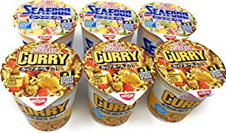 Nissin Cup Ramen Noodle Soup, Curry & Seafood (Pack of 6)