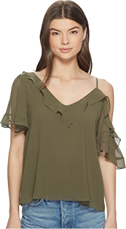 Ruffle Edge Blouse w/ Shoulder Cut Out