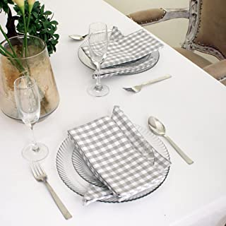 Cotton Dinner Napkins Grey & White Check, Set of 12 (20 x 20 Inches), Over Sized, Embroidery And Print, Lint Free, Quick Dry, Hemmed With Mitered Corners