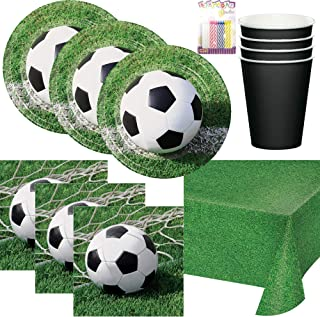 Soccer Ball Themed Birthday Party Plates, Napkins, Cups, and Table Cover (Serves-16) - Soccer Party Supplies Pack Deluxe (Bundle for 16)