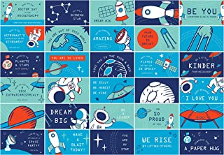 Lunch Box Notes 60 Pack - for Kids & Students with Space Themed Motivational and Inspirational Lunchbox Cards, 30 Different Designs