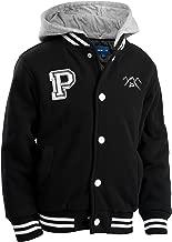 The Polar Club Boys' Fleece Varsity Baseball Jacket Removable Hood