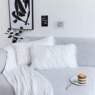 Kevin Textile Pack of 2 Decorative New Luxury Series Style Faux Fur Throw Pillow Case Cushion Cover for Chair/Couch/Sofa, 12x20 Inch (30 x 50 cm), Off-White