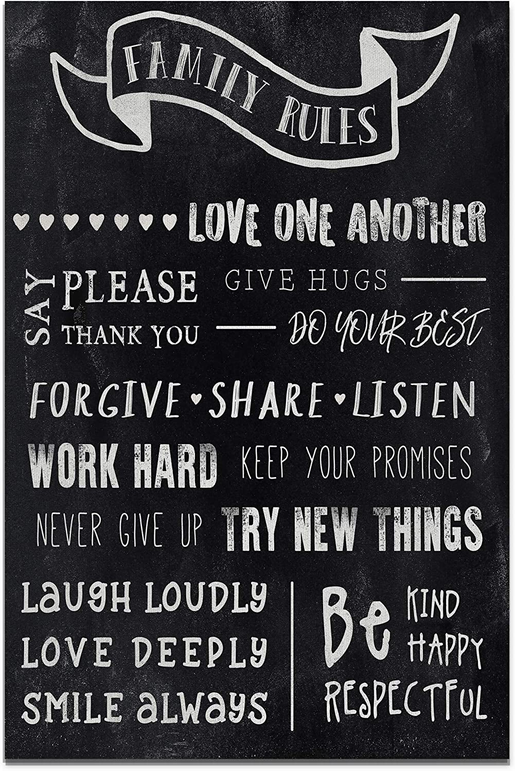 Renditions Gallery Motivational Quotes Wall Art for Home Office Room Canvas Wall Art Décor, 18x27, Chalkboard Family Rules