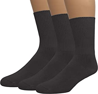Grandeur Hosiery Men's Diabetic Crew Cotton Socks | Non-Binding Loose Top | Seamless Toe | 3-Pair | Big and Tall Available