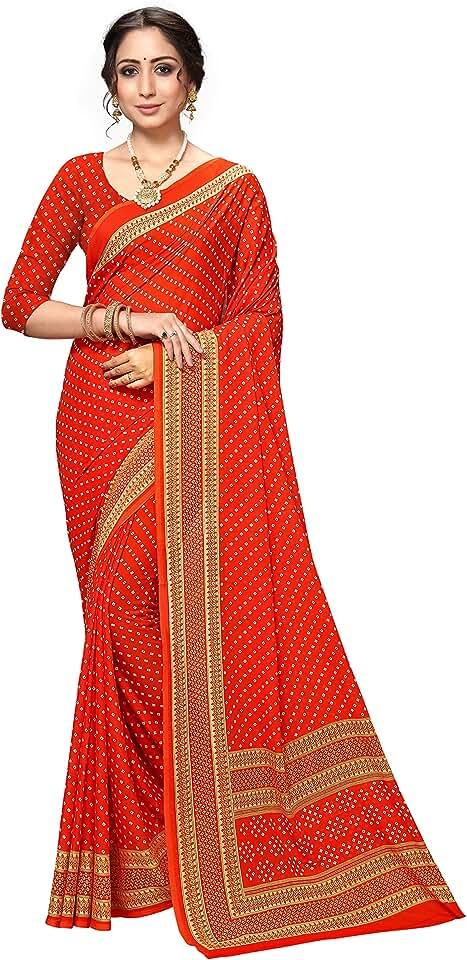 Indian Vaamsi PrintedGeorgette Saree (PC1140_Orange_One Size) Saree