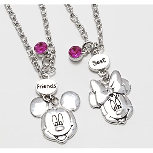 "Joy Toy 25011 Mickey and Minnie 2 ""Best Friends Necklace with Metal Pendant on Backer Card"
