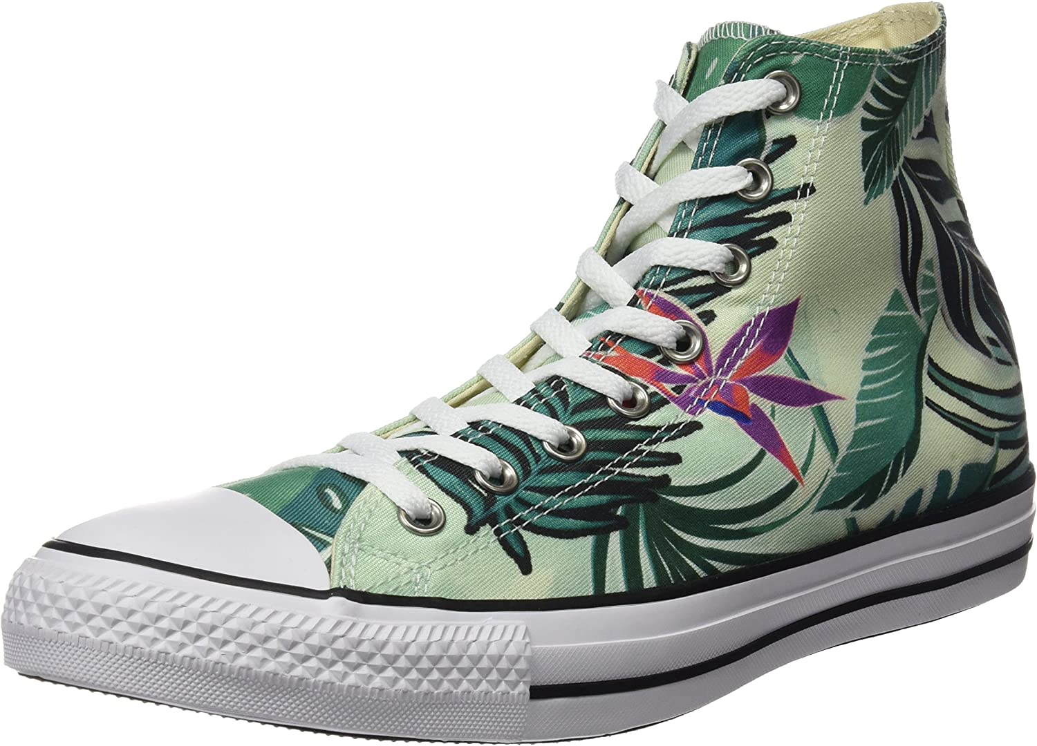 Converse Mens Chuck Taylor All Stars Tropical Print Hi Top Multi Canvas Trainers 8.5 US