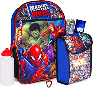"""Marvel Avengers Backpack for Kids ~ Marvel Avengers 6 Piece Bundle Set Includes Deluxe 16"""" Backpack, Snack Tote, Water Bottle, and More (Marvel Avengers Backpack with Lunchbox)"""