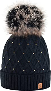 Morefaz Worm Winter Knitted Hat Women's Crystal Pebble with Large Fur Pompom L SKI (MFAZ Ltd)