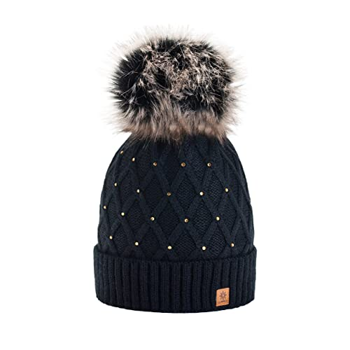 118d7f9bbbb Women Girls Winter Beanie Hat Wool Knitted CRYSTAL with Large Pom Pom Cap  SKI Snowboard Hats