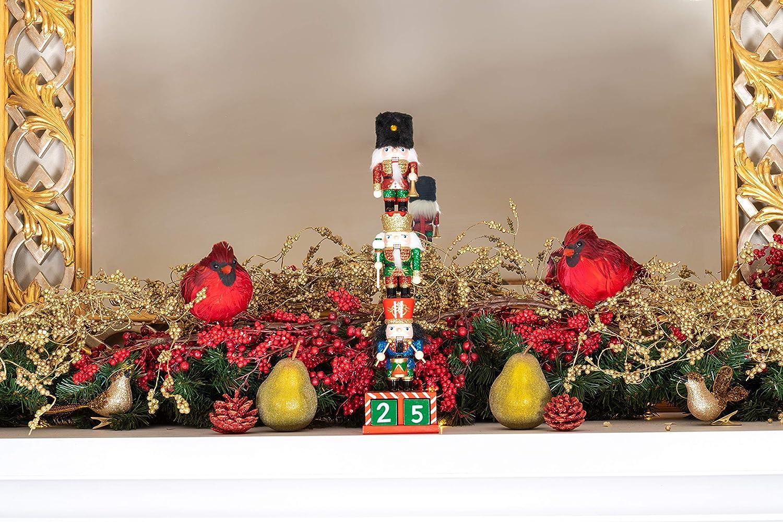 01 Clever Creations Decorazione Natalizia Mini schiaccianoci impilati Calendario in Legno con Tre Mini schiaccianoci paffutelli impilati da Collezione 35,5 cm