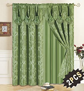 All American Collection New 4 Piece Drape Set with Attached Valance and Sheer with 2 Tie Backs Included (Sage)