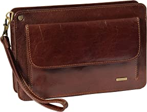 Real Leather Wrist Clutch Bag Wristlet Money Organiser Pouch Montreal Brown