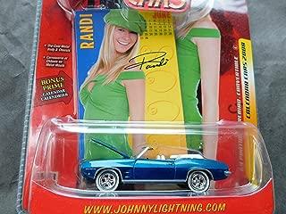 1969 Pontiac Firebird Convertible (blue) Randi Calendar Pin Up Girl 1:64 scale die-cast by Johnny Lightning
