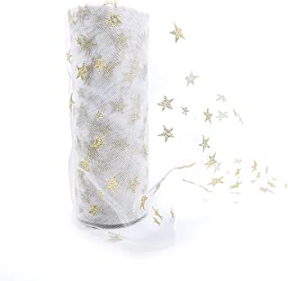 Tulle Rolls by IMXTURO with Sparkling Gloden Stars for Party Wedding Decoration, 6 inch x 10 Yards (White)