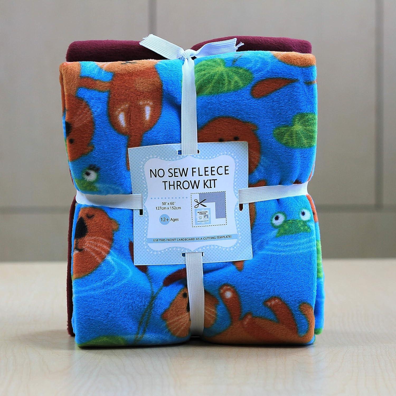 Otters Anti-Pill Japan's largest Bombing free shipping assortment No-Sew Throw Kit Fabric 72x60 Fleece