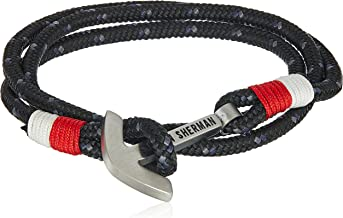 Ben Sherman Men's Black, Red, and White Anchor Closure Wrap Bracelet in Stainless Steel