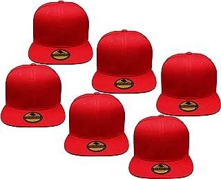 Plain Blank Flat Brim Adjustable Snapback Baseball Caps LOT 6 Pack