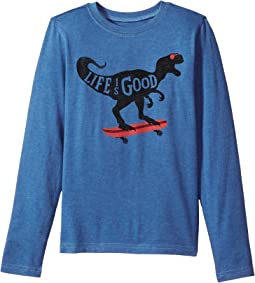 Life is Good Kids - T-Rex Skater Long Sleeve Crusher Tee (Little Kids/Big Kids)
