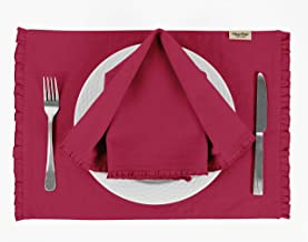 Vargottam Magenta Solid Home Décor Dining Room Reversible Frill Tablemats with Napkins Set-Pack of 6
