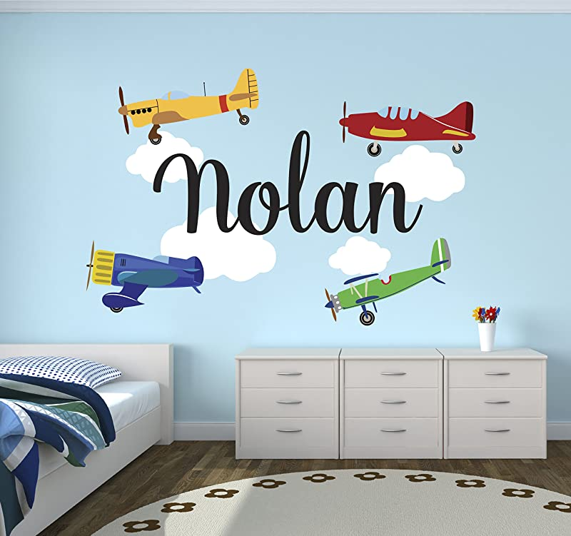 Personalized Airplanes Name Wall Decal Baby Boy Room Decor Nursery Wall Decals Airplanes Clouds Wall Decal Vinyl Sticker Boys