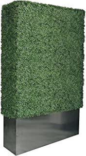 Artigwall Upgraded Artificial Boxwood Hedge Divider Fence Wall with Black Stainless Steel Planter Box (79