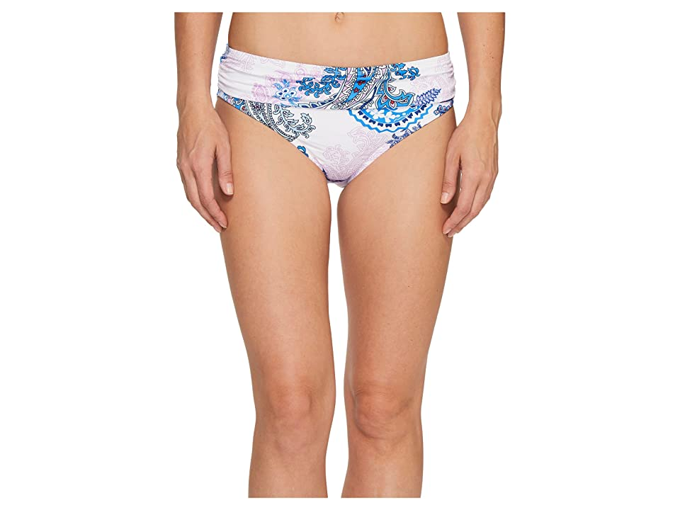 Tommy Bahama Paisley Leaves High-Waist Sash Bikini Bottom (White) Women
