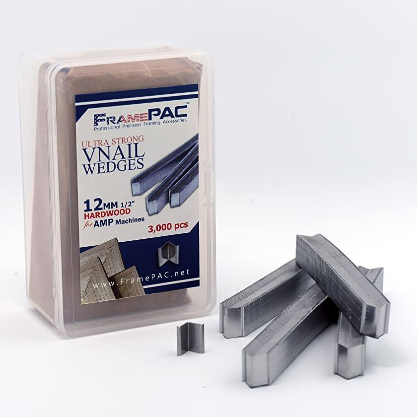 V Nails for Picture Framing - Ultra Strong - 12mm (1/2 Inch) Vnail Wedges for Joining Picture Frame Corners - Hardwood Frames - AMP [3000 V Nail Pack, Stacked]