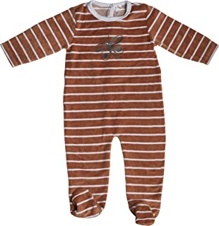 Jack & Jill Baby Girl Romper, Striped Velour Onesie with Feet, Baby Footie (Butterfly)