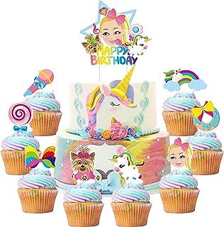 PANTIDE Set of 49 JOJO Cake Toppers Cupcake Toppers - HAPPY BIRTHDAY JOJO Cake Topper, Rainbow Bow Unicorn Puppy Lollipop ...
