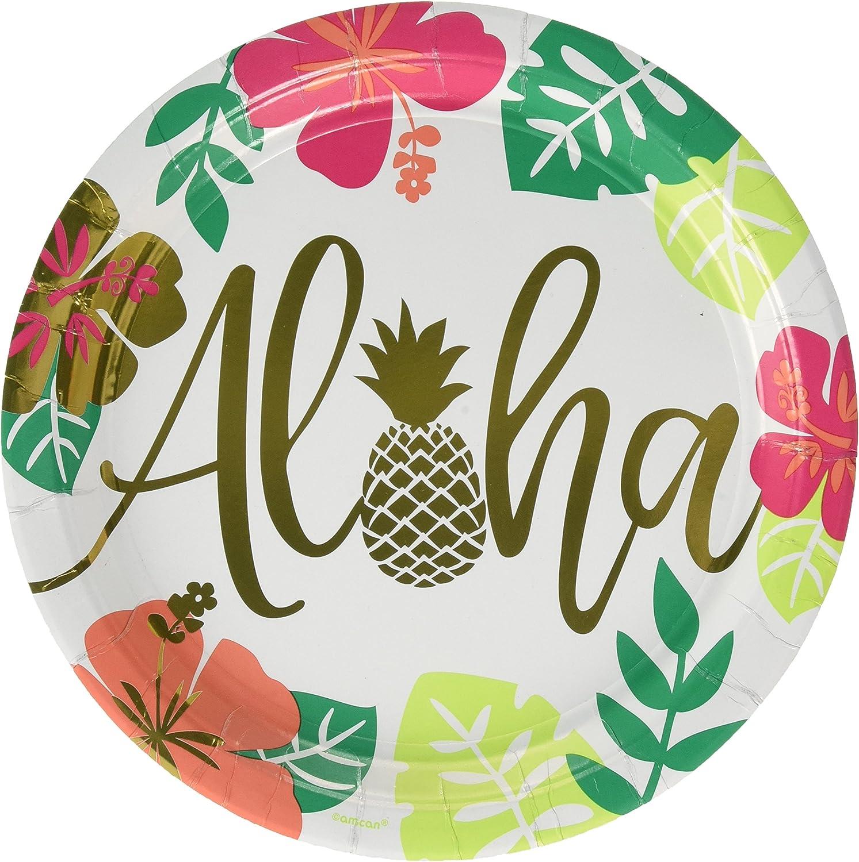 Amscan 591953 Aloha Metallic Party Plates, 10.5
