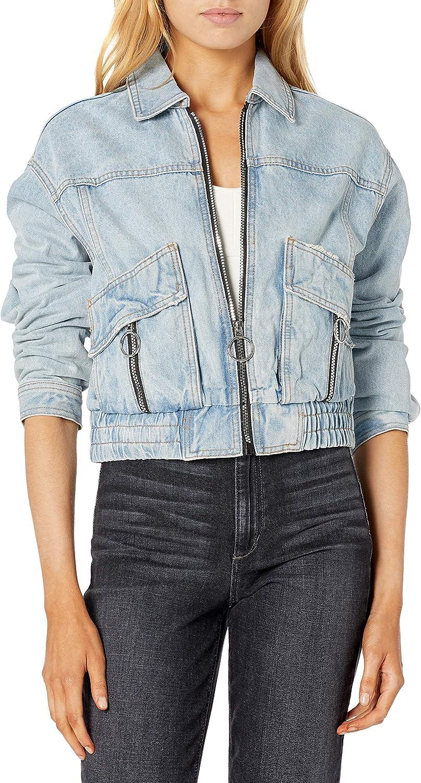 AX Armani Exchange Women's Short Full Zip Denim Jacket with Special Zippers