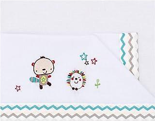 dise/ño love friends 80 x 140 cm color blanco y azul Tr/íptico s/ábanas Pirulos 00912313