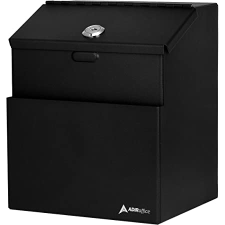 Adir Wall Mountable Steel Suggestion Box with Lock - Donation Box - Collection Box - Ballot Box - Key Drop Box (Black) with 25 Free Suggestion Cards (631)