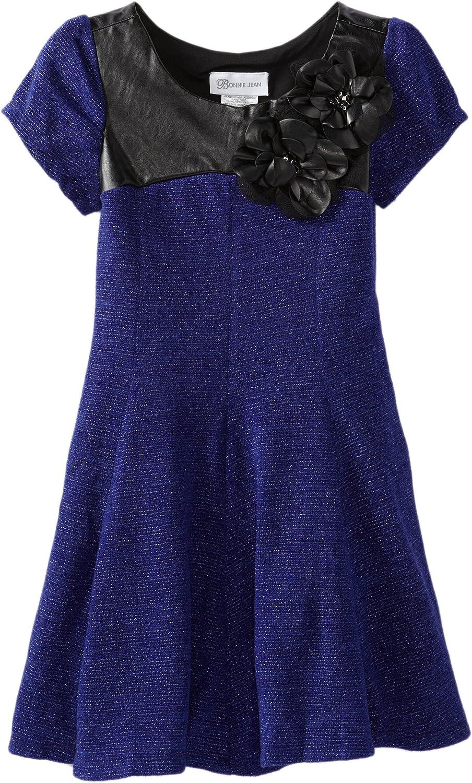 Bonnie Jean Big Girls' Blue Fuzzy Knit with Pleater Trim Dress